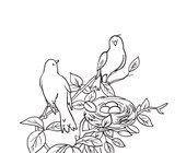 Birds in Nest Coloring Page