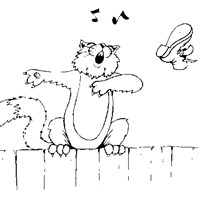 cat singing coloring page