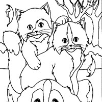 dog cat coloring page