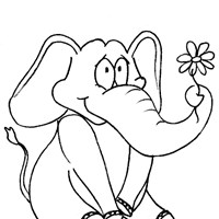 elephant color coloring page
