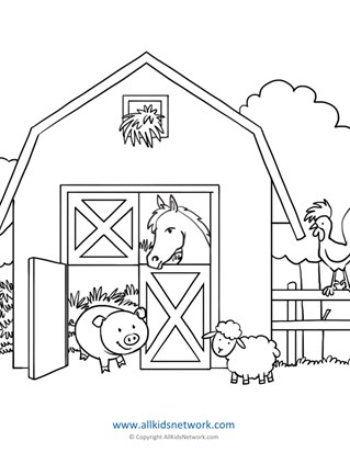 Farm Animals in Barn Coloring Page