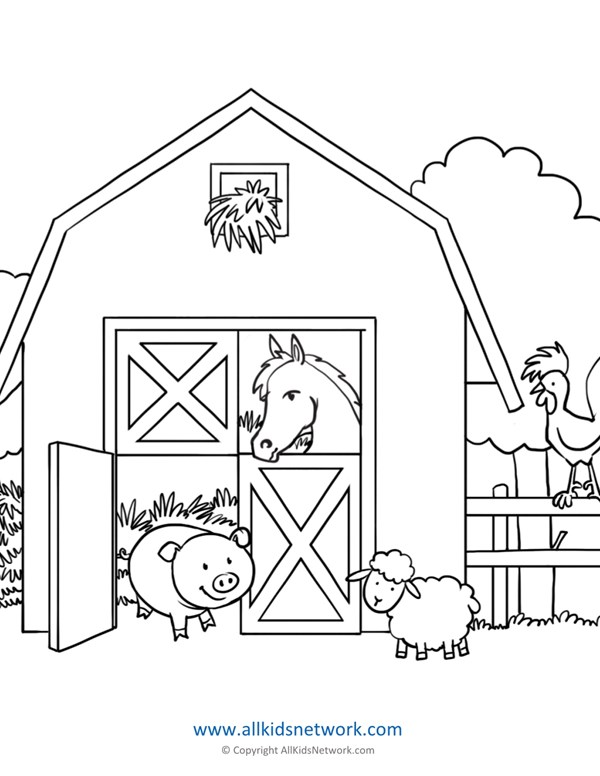 Farm Animals In Barn Coloring Page All Kids Network
