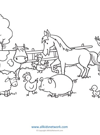 Farm Animals Coloring Page All Kids Network