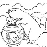 fish cat coloring page