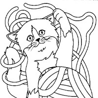 kitten ball of string coloring page