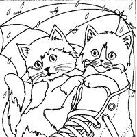 kittens shoe coloring page