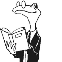 lizard readiing coloring page