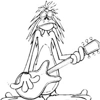 monkey guitar coloring page