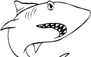 shark swimming coloring page