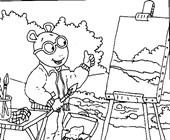 arthur painting coloring page
