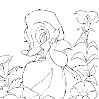 bambi flowers coloring page
