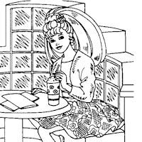 barbie eating coloring page