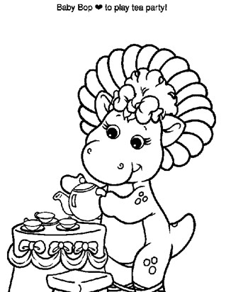 baby bop tea time coloring page