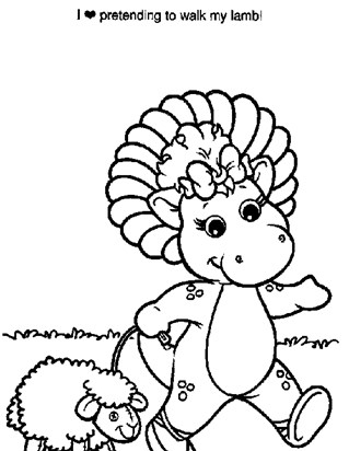 barney baby bop coloring page