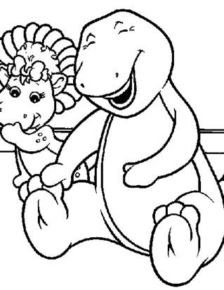 barney laughing coloring page