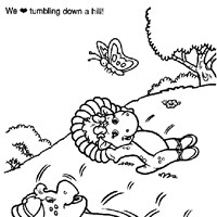 barney tumbling down hill coloring page