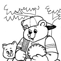 bear baseball coloring page