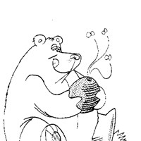 bear honey coloring page