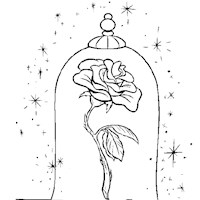 beauty and the beast rose coloring page