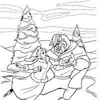 beauty and the beast skating coloring page