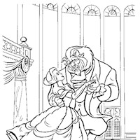 beauty beast dancing coloring page