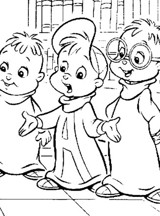 Chipmunks Coloring Page - alvin simon theodore | All Kids ...
