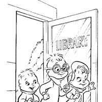 chipmunks library coloring page