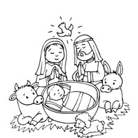 christmas baby in manger coloring page