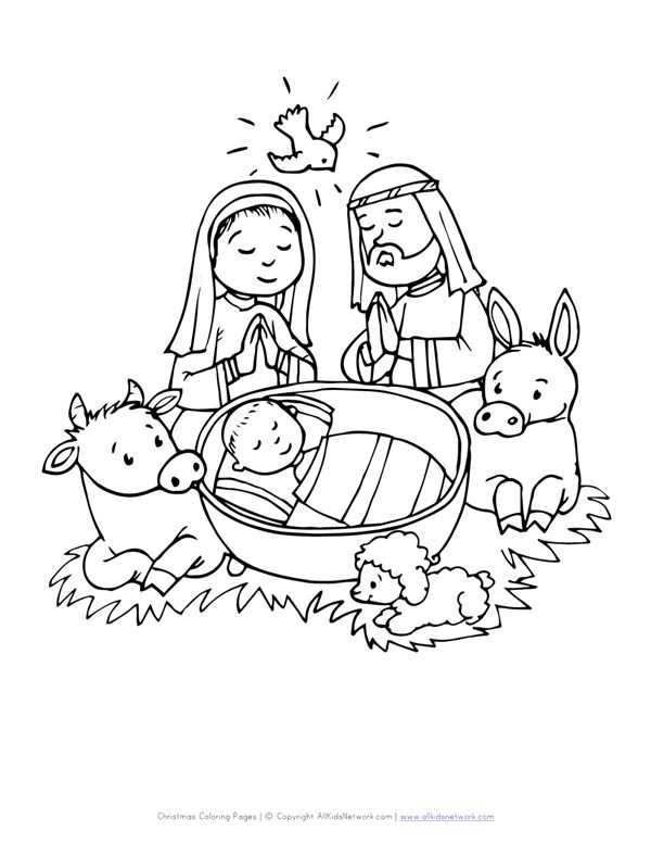 Baby In Manger Coloring Page All Kids Network