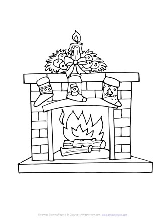 fireplace with stockings coloring page all kids network