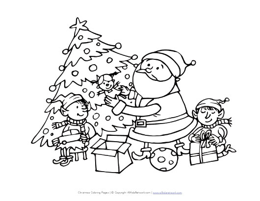 Santa and Elves Coloring Page | All Kids Network