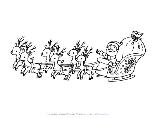 santa with sleigh coloring pages - photo#32