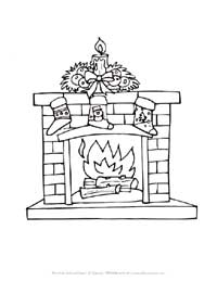 fireplace with stockings coloring page