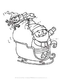 santa and sleigh coloring page