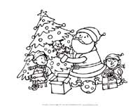 santa elves coloring page