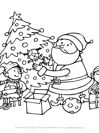 santa and elves coloring page