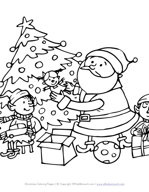 santa and elves coloring page all kids network