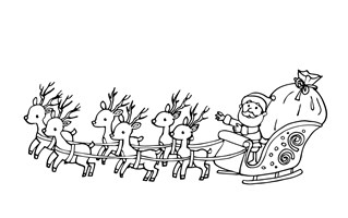 santa flying in sleigh coloring page