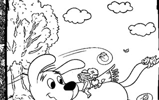 clifford outside coloring page