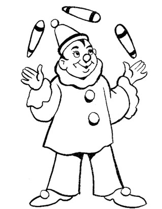clown juggling coloring page