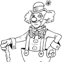 clown sad coloring page