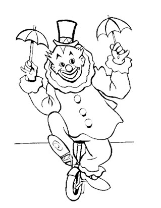 clown unicycle coloring page