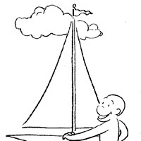 curious george boat coloring page