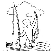 curious george fishing coloring page