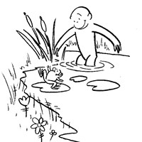 curious george frog coloring page