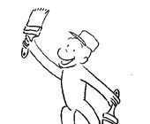 curious george painting coloring page