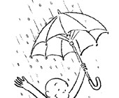 curious george rain coloring page