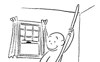 curious george sweep coloring page
