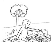 picnic with curious george coloring page
