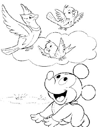 baby mickey birds 11a coloring page